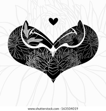 Two decorative horse heads.Symbol of heart . Vector illustration.  - stock vector