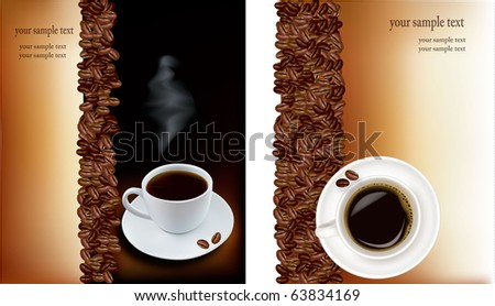 Two designs with cup of coffee and coffee grains. Vector. - stock vector