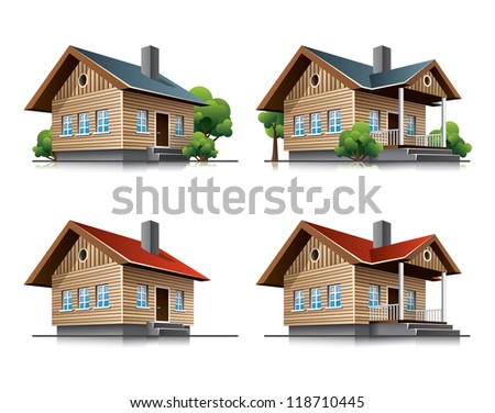 Two detailed wooden cottages vector icons in cartoon style. - stock vector