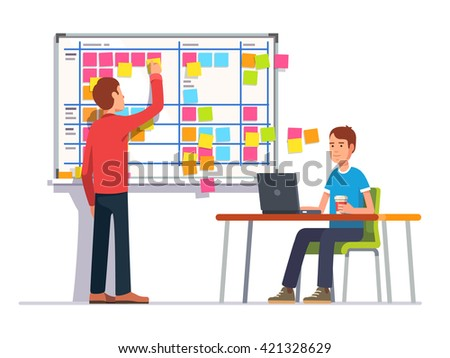 Two developers planning their work. Scrum task board hanging in a team room full of tasks on sticky note cards.  Flat style color modern vector illustration. - stock vector