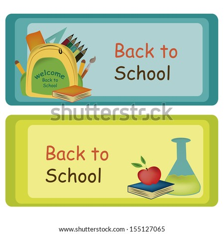 two different boards with different colors welcoming students - stock vector