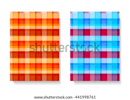 Two different color variants of a seamless checkered, checked or plaid background pattern in bright colors and square format suitable for print, tiles or textile, vector design - stock vector
