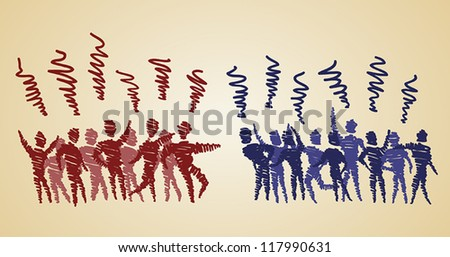 two different groups of people are arguing - stock vector