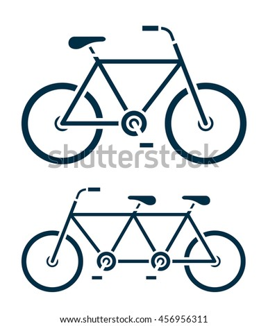 Two different simple outline vector illustrations of bicycle icons, one a tandem bike, side view isolated on white - stock vector
