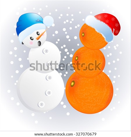 Two different snowmen in New Year's caps. Vector illustration. - stock vector