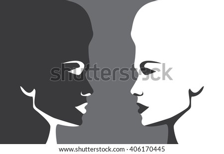 Two different women against each other, conceptual vector background - stock vector