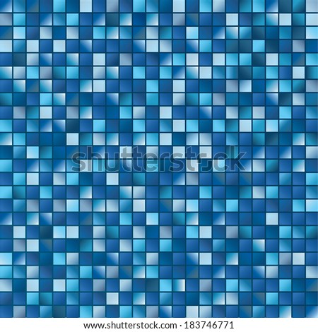 Two-dimensional surface from multitude blue squares in vector - stock vector