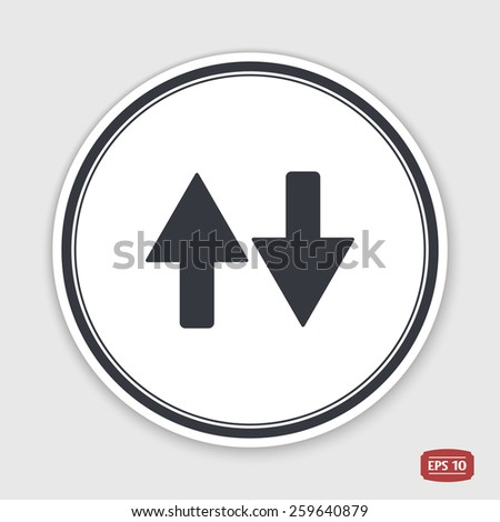 Two directional arrows. Flat design style. Made in vector illustration. Emblem or label with shadow.