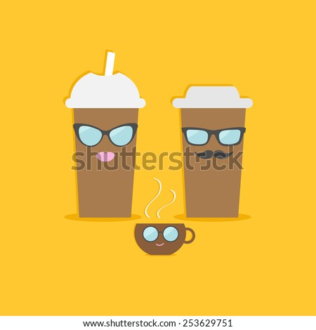 Two disposable coffee paper cups tecup with sunglasses mustache and lips. Flat design Vector illustration - stock vector