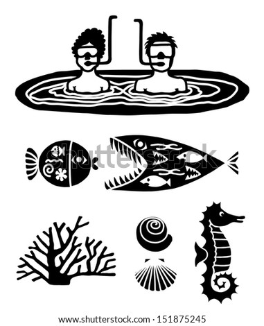 Two Divers, Two Fish, a Seahorse and Seashells - Black and White Hand Drawn Vector Collection  - stock vector
