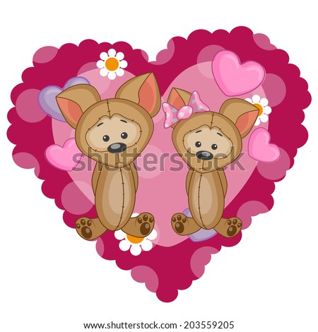 Two Dogs on a background of heart