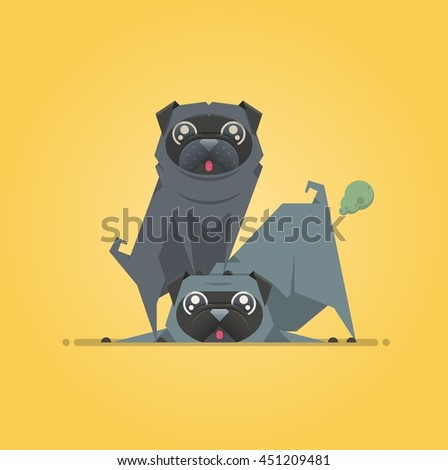 two dogs playing, vector background - stock vector