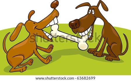 two dogs playing with bone - stock vector
