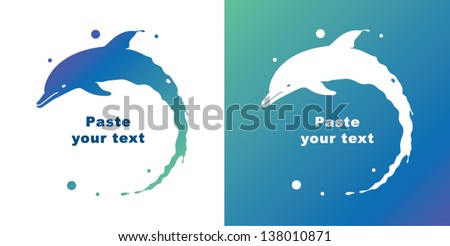 Two dolphins - stock vector