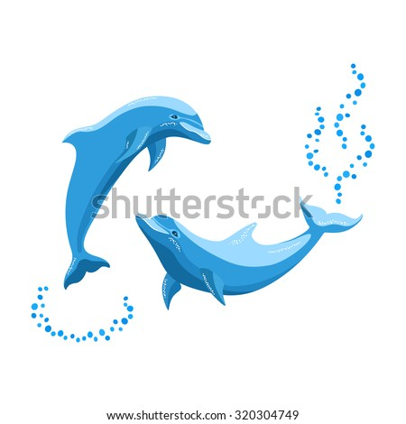 Two dolphins playing in the sea. Vector illustration. Isolated on white. - stock vector