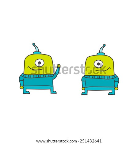 Two doodle aliens isolated on white background - stock vector