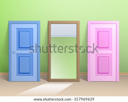 Two doors and a mirror standing on the floor as a sample for sale. - stock vector