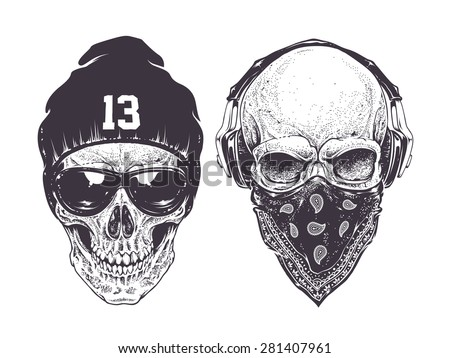 Two dotwork skulls with modern street style attributes. Vector art. - stock vector