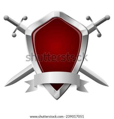 Two double-edged swords and a shield isolated on white - stock vector