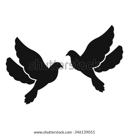 Two doves simple icon isolated on white background - stock vector