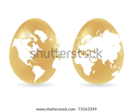 Two easter colored eggs with global map pattern. Vector illustration, isolated on a white