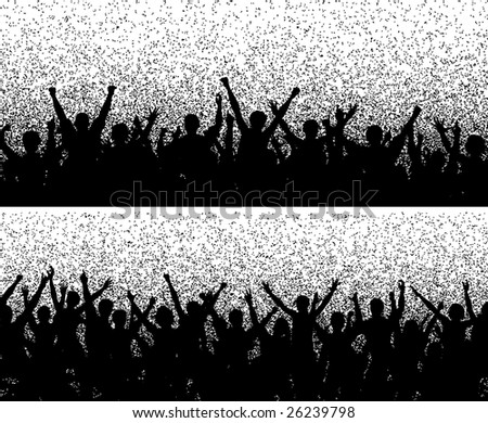 Two editable vector crowd silhouettes with grainy grunge