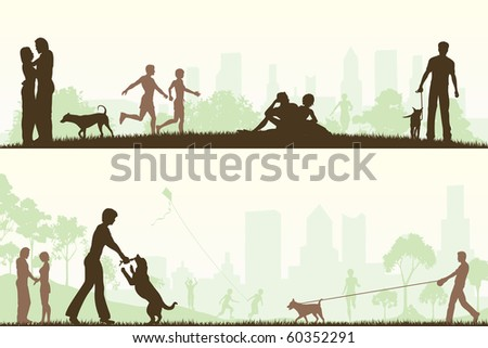 Two editable vector designs of city parks with all elements as separate editable objects - stock vector