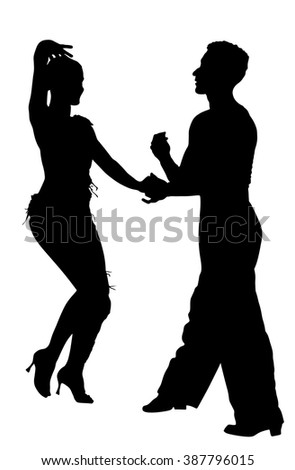 Two elegance tango dancers vector silhouette. Isolated over white background. Dancing styles, Partner dance waltz, performer tango, woman and man. Vector illustration. - stock vector