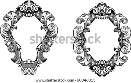 Two Elegant Baroque Ornate Curves Engraving Frames - stock vector