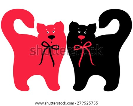 Two elegant cats with ties, Red and Black symmetrically standing, hand drawing vector artwork - stock vector