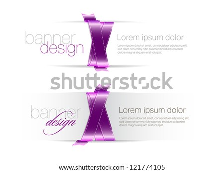 Two elegant white vector banners braided with purple silky glossy ribbons - stock vector