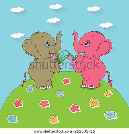 Two elephants with a nosegay. Vector illustration - stock vector
