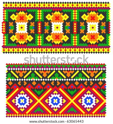 two embroidered goods like handmade cross-stitch ethnic Ukraine pattern - stock vector