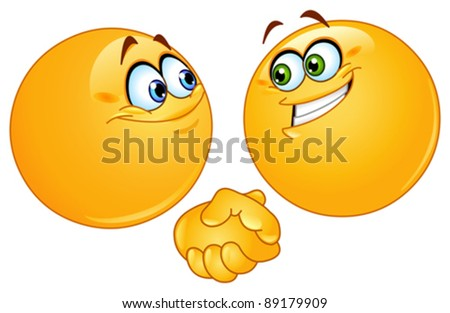 Two emoticons shaking hands - stock vector