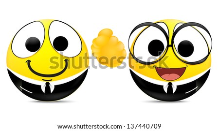 Two emoticons shaking hands . business concept - stock vector