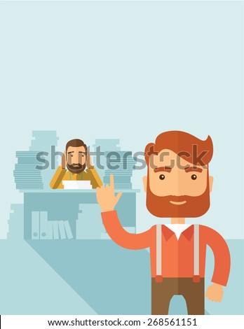 Two employees ,one happy walking ahead finished his task on time and the other is sad siitng and still working with those paper works on his table. Time management concept. A contemporary style with - stock vector