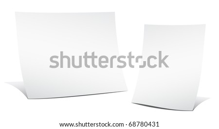 Two empty sheets of paper on the white background - stock vector