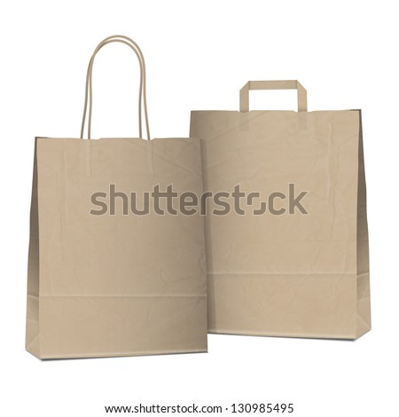 Two empty shopping brown bags. Vector EPS10