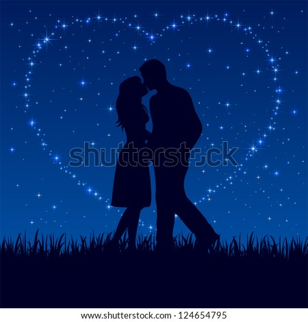 Two enamored on the night sky with shining stars, illustration. - stock vector
