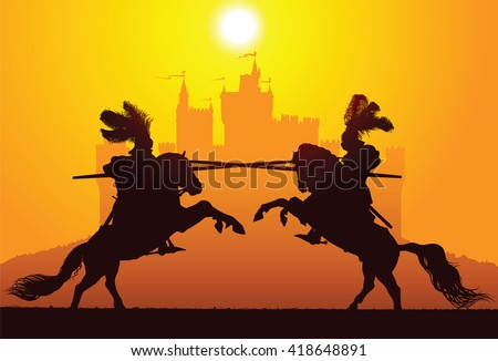 Two equestrian knights with the castle on the background - stock vector