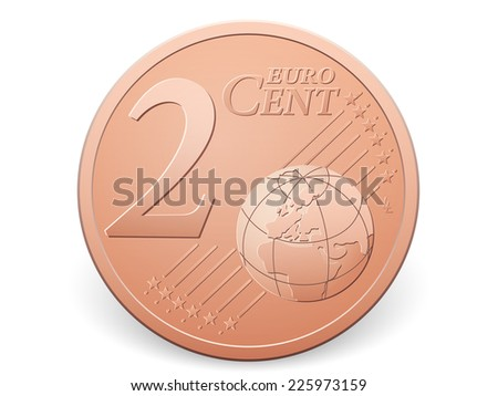 Two euro cent coin on a white background. - stock vector