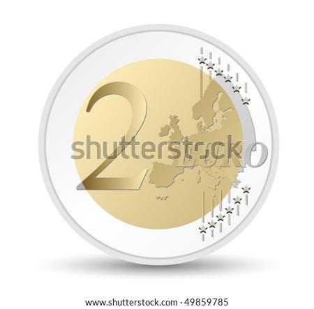 two euro coin - stock vector