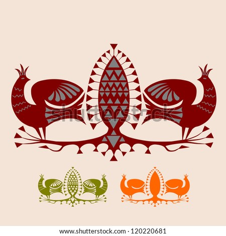 Two exotic birds and fruit. Components to build own designs. Each element in one color, no gradients. - stock vector