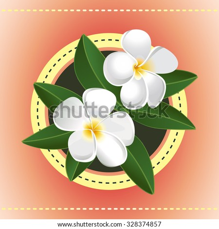 Two exotic flowers greeting card hawaiian stock vector 328374857 two exotic flowers greeting card hawaiian plumeria vector ilustration white blossom in circle frame m4hsunfo