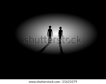 Two Extraterrestrial Alien Silhouettes and Shadows Walking From Light - stock vector