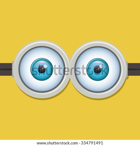 Two eyes glasses or goggles. Cartoo, sight design, pop-eyed funny. Vector illustration - stock vector