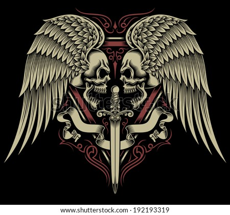 Two Faced Skull With Wings and Sword - stock vector