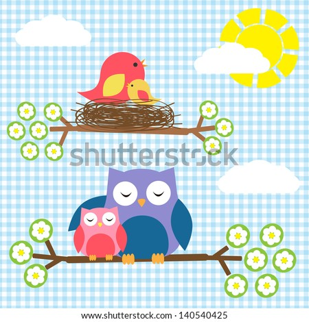 Two families - birds and owls - stock vector