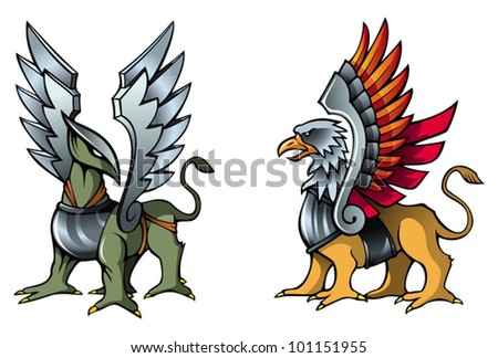 Two fantastic griffins, in armor, with metal wings, vector illustration - stock vector