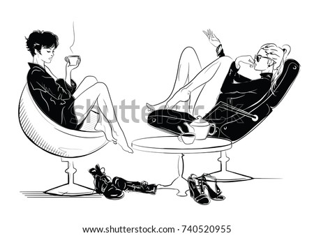Two fashion girls in sketch style relaxes with a cup of tea. Vector illustration